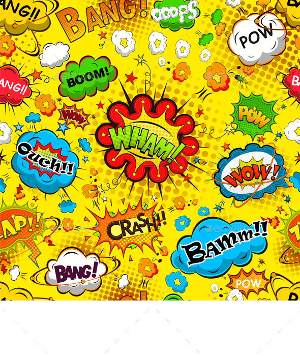 GraphicRiver Comic Speech Bubbles Seamless Pattern 11828932