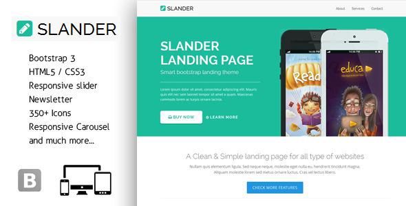 Slander - Responsive Bootstrap HTML5 Landing Page