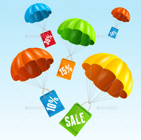 GraphicRiver Vector Parachute with Paper Bag Sale in The Sky 11828979