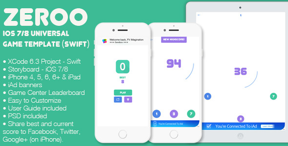 CodeCanyon Zeroo iOS 7 8 Universal Game Template Swift 11828990