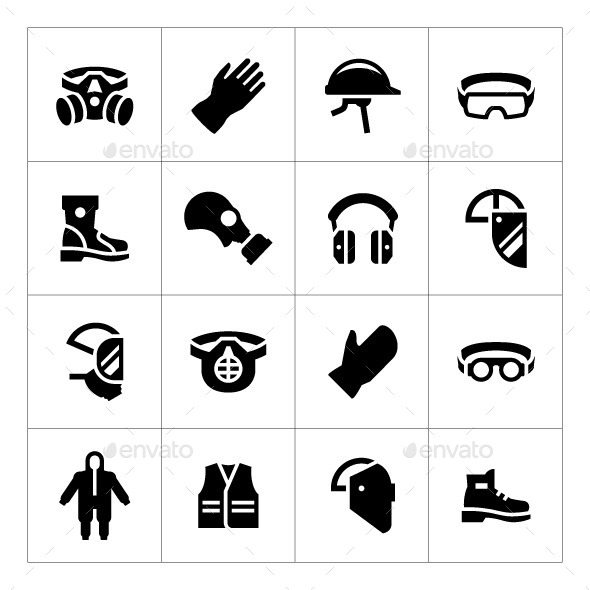 GraphicRiver Set Icons of Personal Protective Equipment 11829971