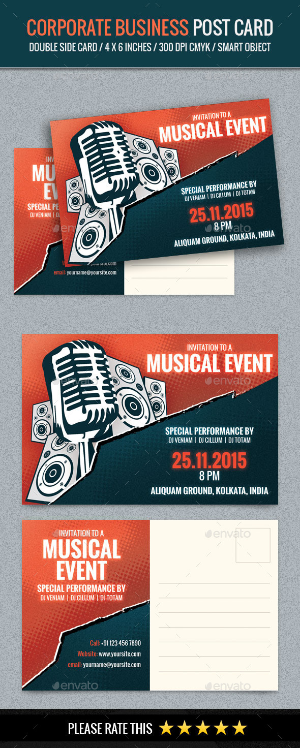 GraphicRiver Music Event Post Card Template 11831349