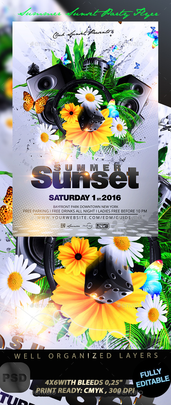 GraphicRiver Summer Sunset Party Flyer 11831850