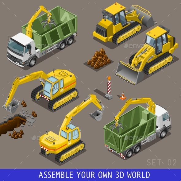 GraphicRiver City Transport Construction Isometric Flat 3D Icon 11831884