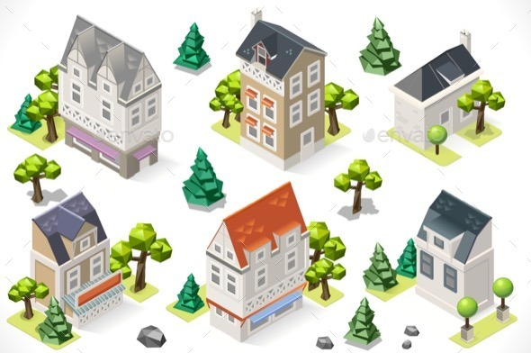 GraphicRiver Europe Building Set Tint Cartoon Isometric 3d 11831890