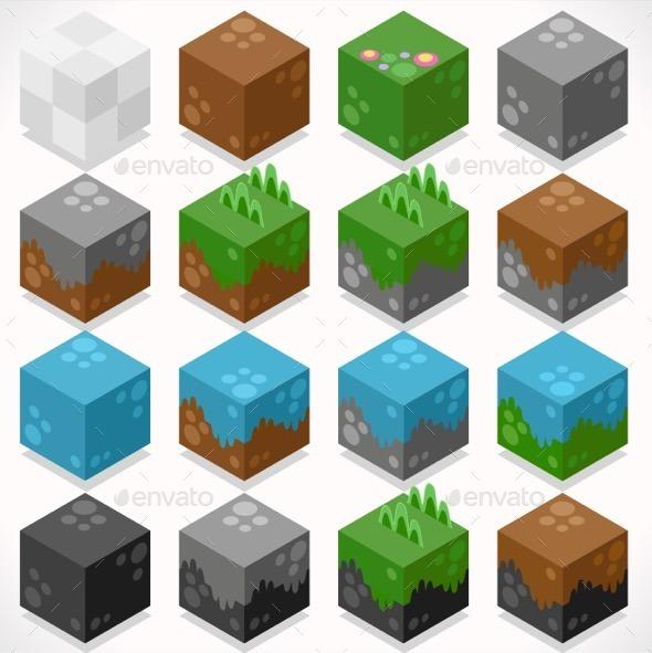 GraphicRiver Textured Cubes Mine Elements Builder Craft Kit 11831895