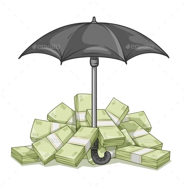 GraphicRiver Umbrella Protecting Bundles with Money 11832241