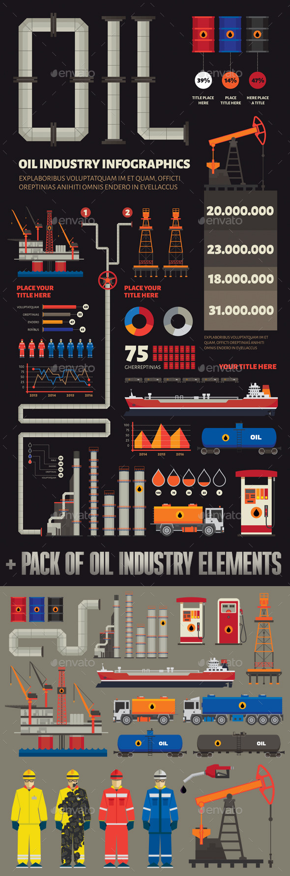 GraphicRiver Oil Industry Infographics and Elements 11829473