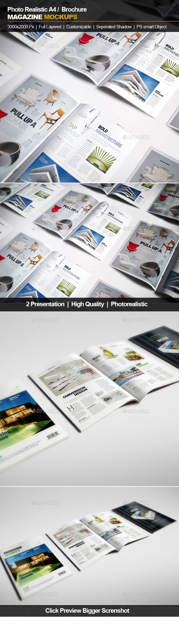 GraphicRiver A4 Brochure Magazine Mockup 11832800