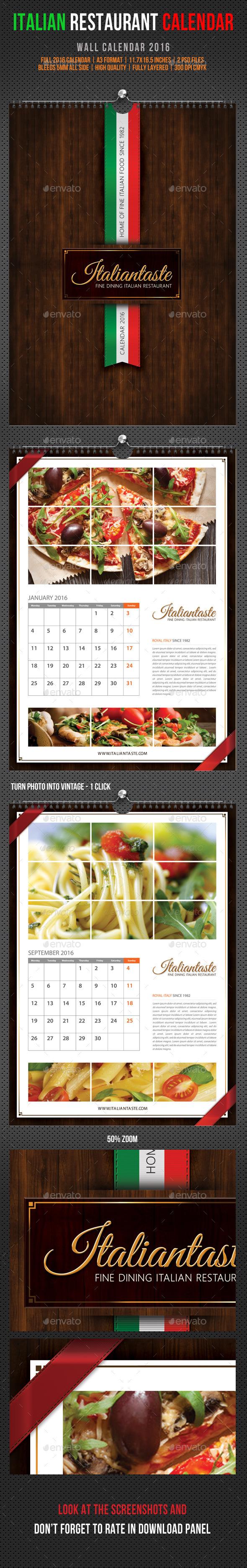 GraphicRiver Italian Restaurant Wall Calendar 2016 11833616