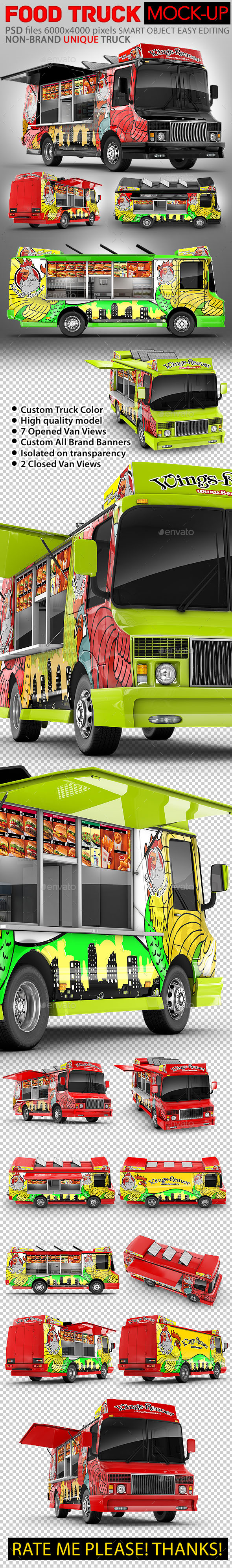 GraphicRiver Food Truck Mock-Up Unique 3D model mockup 11833665