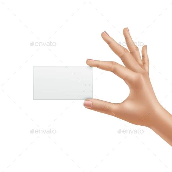 GraphicRiver Vector Female Hand Holding Blank Card Isolated 11833732