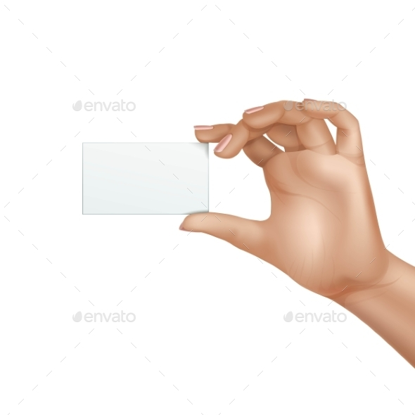 GraphicRiver Vector Female Hand Holding Blank Card Isolated 11833733