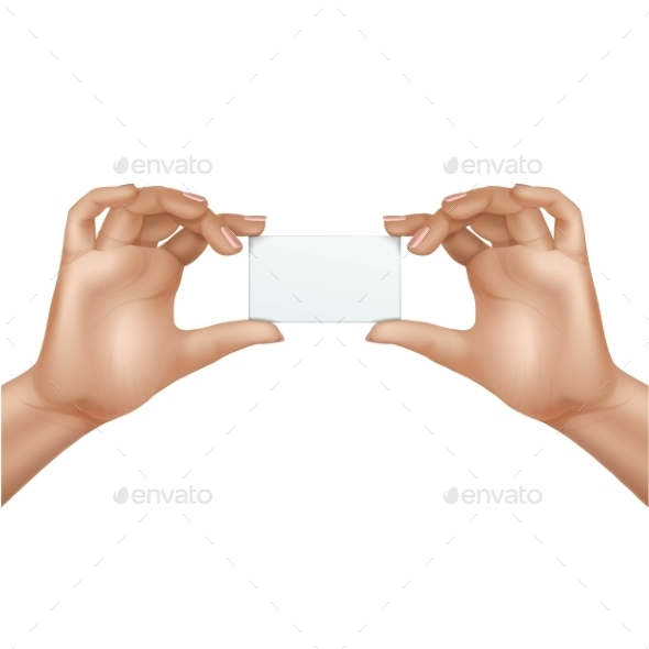 GraphicRiver Vector Female Hands Holding Blank Card Isolated 11833812