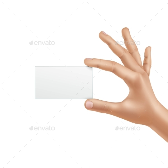 GraphicRiver Vector Male Hand Holding Blank Card 11833814
