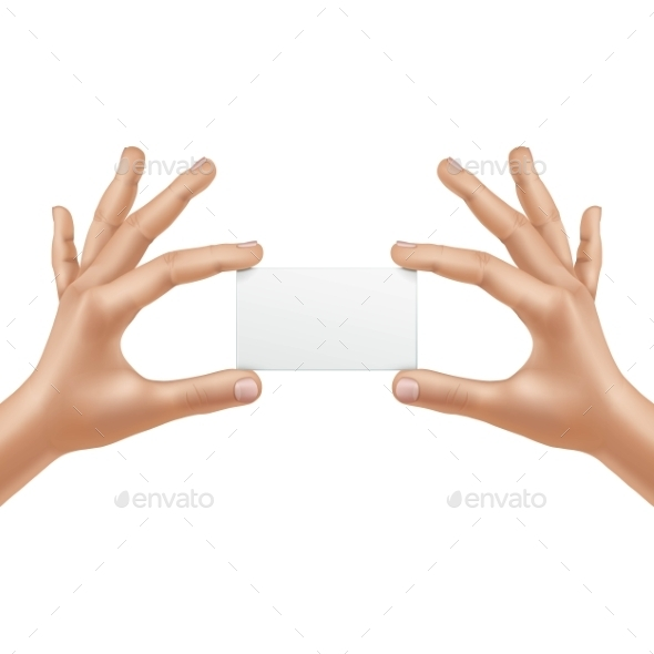 GraphicRiver Vector Male Hands Holding Blank Card Isolated 11833815