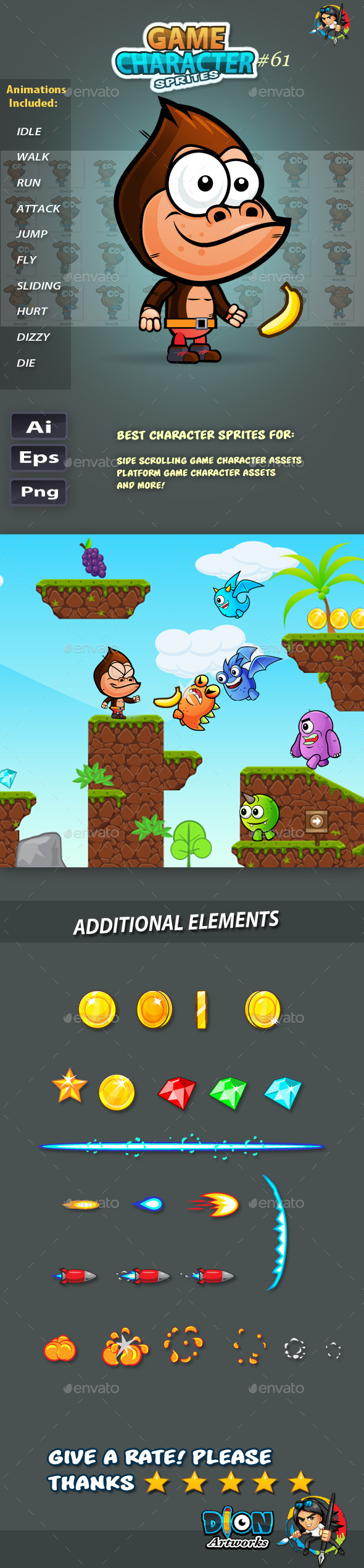 GraphicRiver Gorilla 2D Game Character Sprites 61 11834065