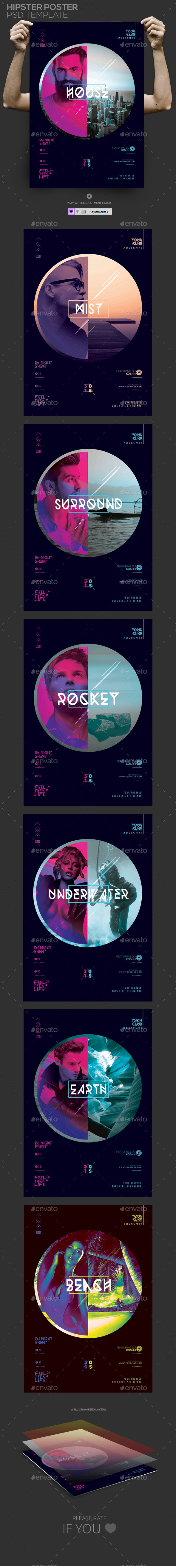 GraphicRiver Hipster Poster Template PSD Flyer Poster 11834169