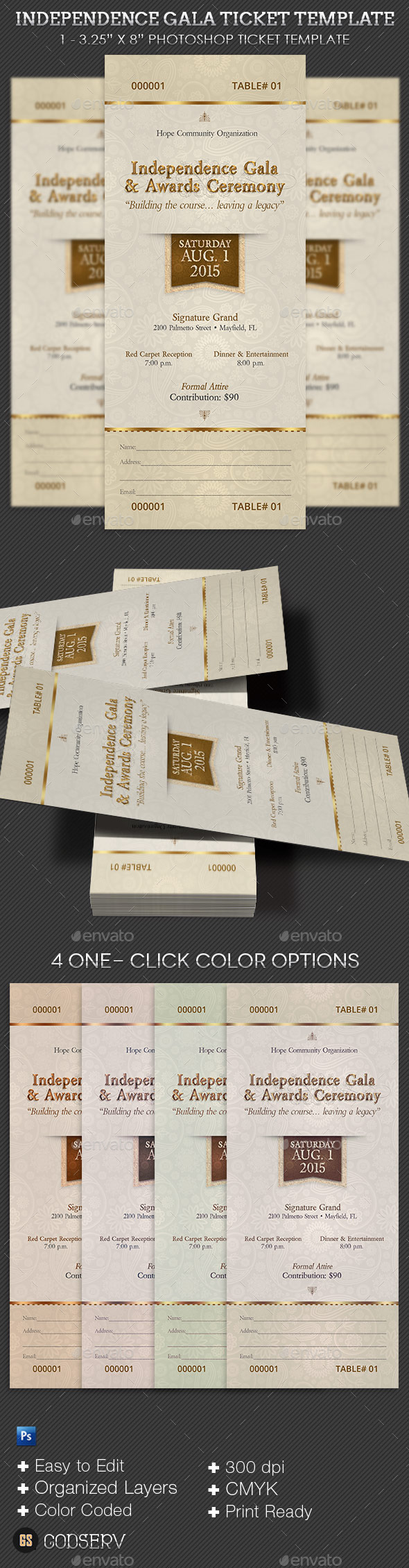 GraphicRiver Independence Gala Ticket Template 11834203