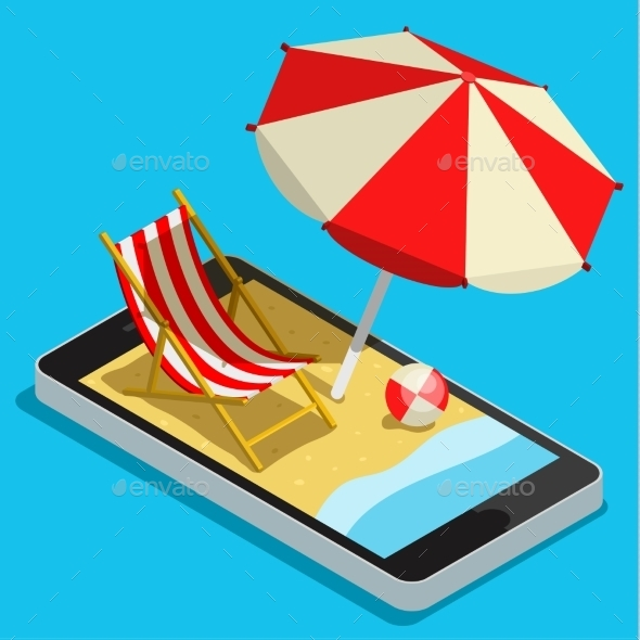 GraphicRiver Vacation With Mobile Phone Concept 11834490