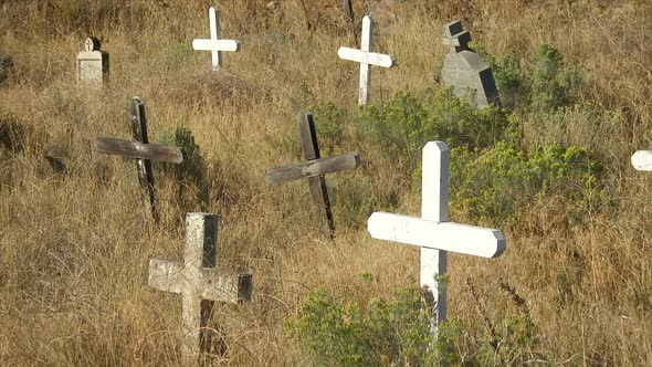 Crosses In Cemetery Colville Indian Reservation
