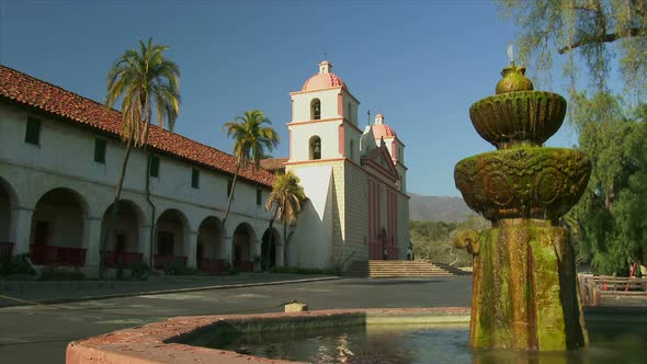 Old Mission Santa Barbara And Water Fountain