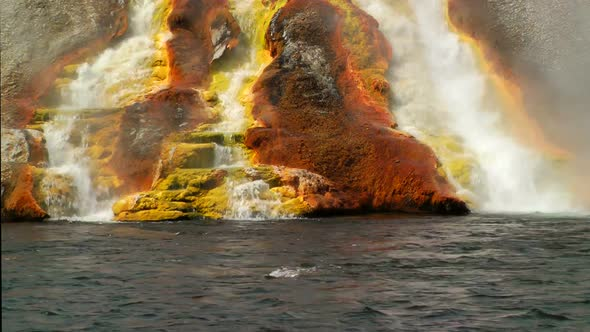 Overflow From Excelsior Geyser Runs Into The Yellowstone River 1