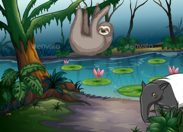 GraphicRiver Animals and Pond 11836728