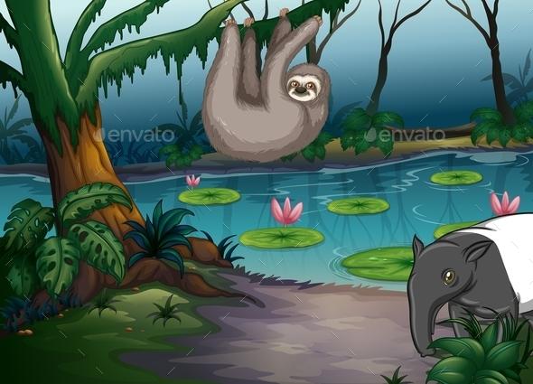 GraphicRiver Animals and Pond 11836728