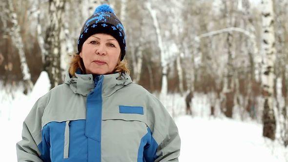 Portrait Of Adult Woman In Winter