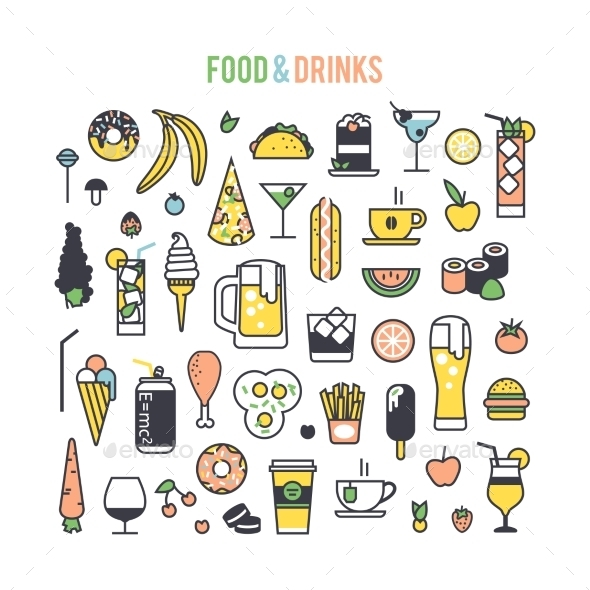 GraphicRiver Set Icons Food And Drinks 11839082