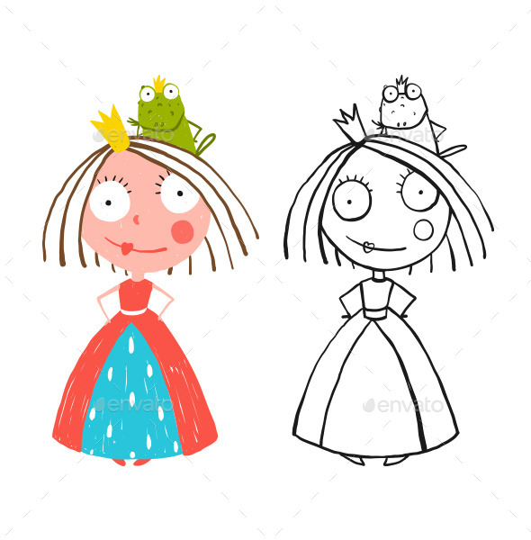 GraphicRiver Little Princess Standing with Prince Frog Sitting 11839904