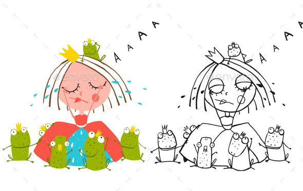 GraphicRiver Princess Crying and Many Prince Frogs Drawing 11839919