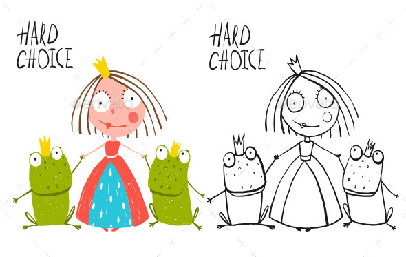 GraphicRiver Princess Making Choice between Two Prince Frogs 11839939