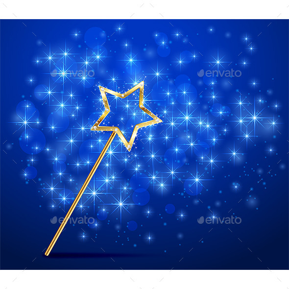 GraphicRiver Sparkle Magic Wand on Blue Background 11840015