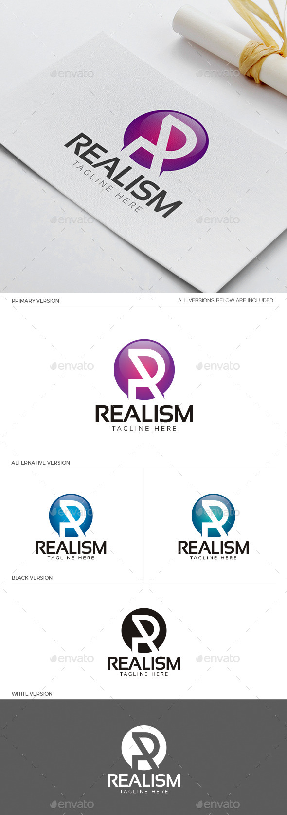 GraphicRiver Realism Letter R Logo 11840017
