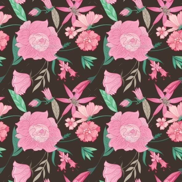 GraphicRiver Summer Floral Pattern On Brown Background 11840554