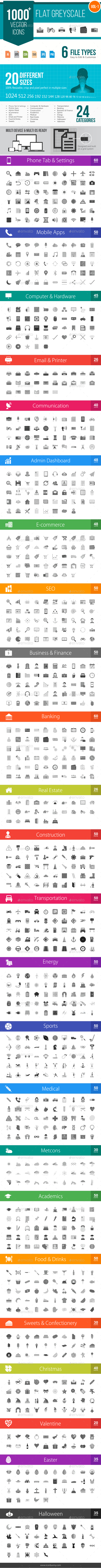 GraphicRiver 1000& Flat Greyscale Vector Icons 11840729