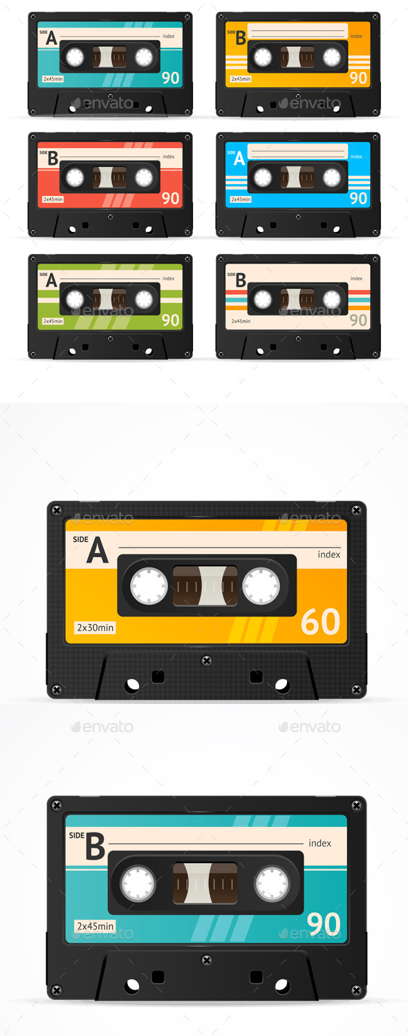 GraphicRiver Vector Cassette Tape Collection 11841027
