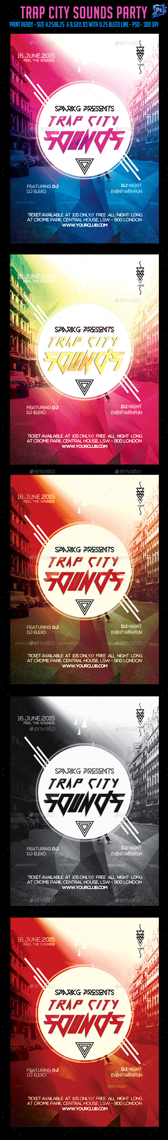 GraphicRiver Trap City Sounds Flyer 11841442