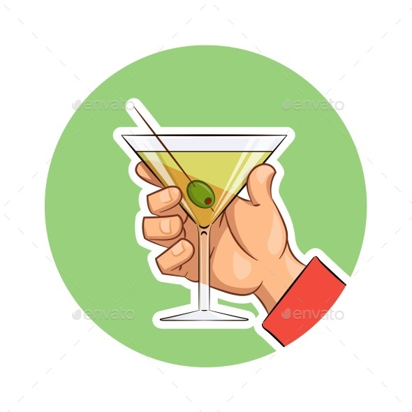 GraphicRiver Glass of Martini with Olive in Hand 11841527