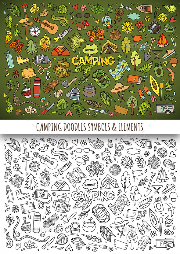 GraphicRiver Hand Drawn Camping Doodles Symbols 11841691