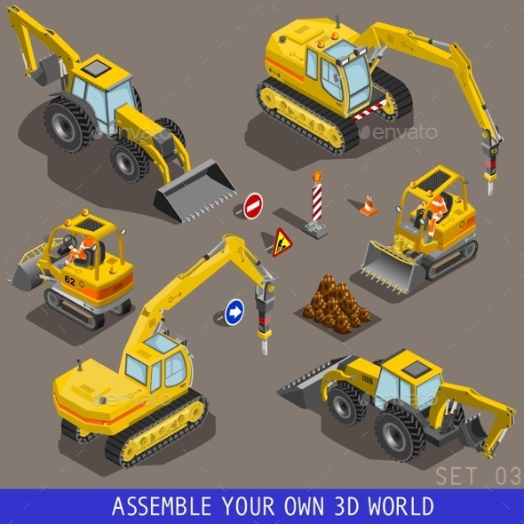 GraphicRiver Isometric City Construction Transport Flat 3D Icon 11841757