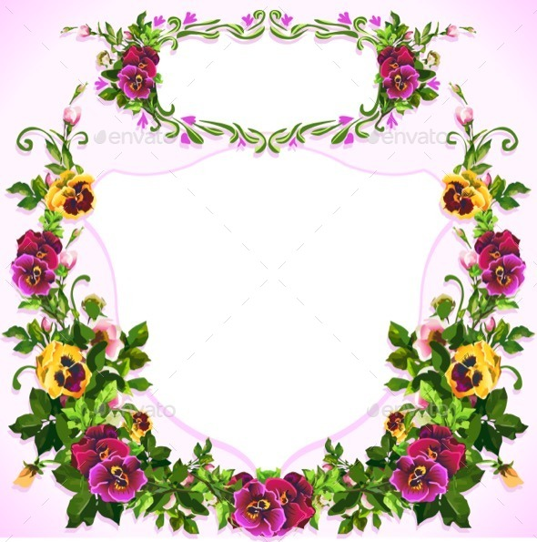 GraphicRiver Watercolor Pansy Bouquet Label 11841767
