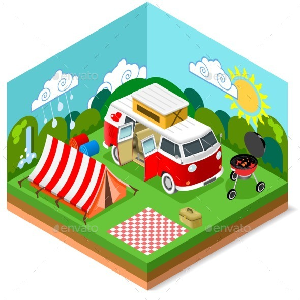 GraphicRiver Isometric Picnic Summer Time 11841786