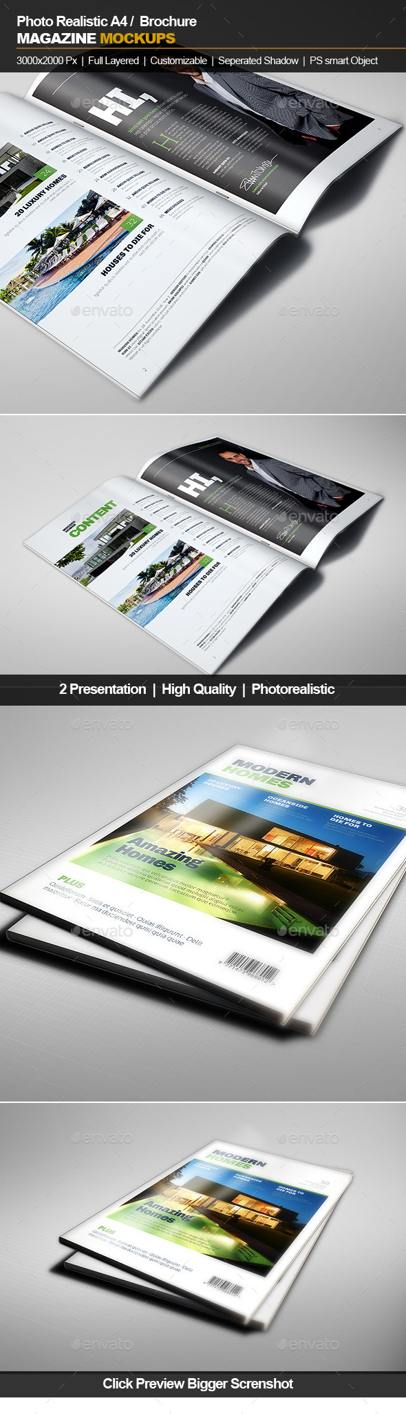 GraphicRiver A4 Brochure Magazine Mockup 11842036