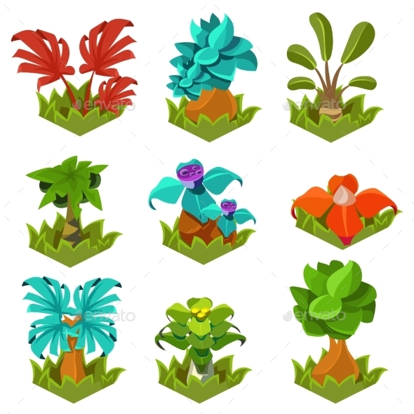 GraphicRiver Garden Plants With Flowers For Game 11842680