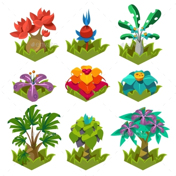 GraphicRiver Garden Plants With Flowers For Game 11842683