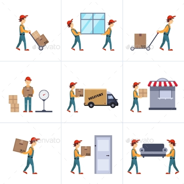 GraphicRiver Delivery Person Freight Logistic Business Service 11842951