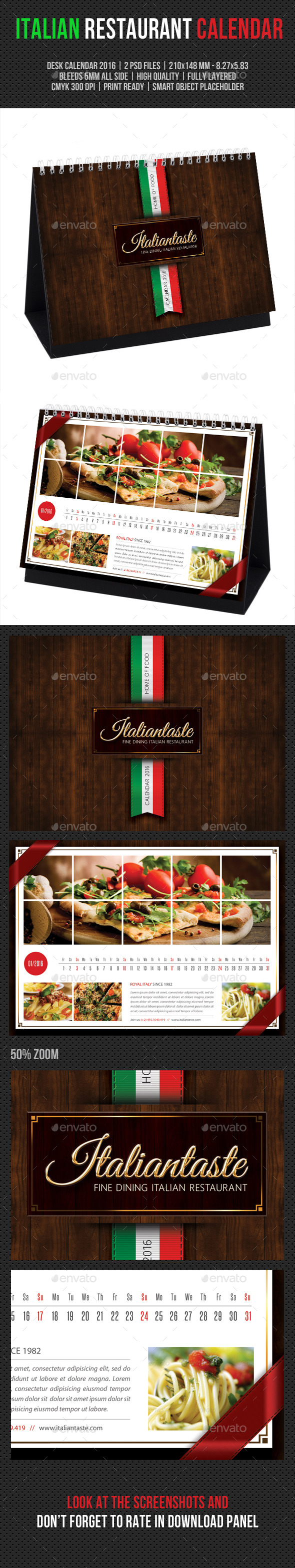 GraphicRiver Italian Restaurant Desk Calendar 2016 11842954